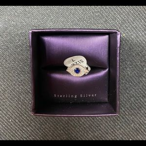 Sterling silver evil eye ring. Size 7.